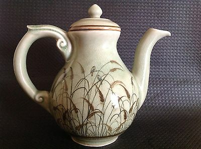 Celadon Siam Hand Made/painted Pottery Teapot - Reeds, Birds, Vintage 1978+.