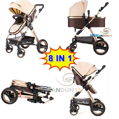 Baby Stroller Pram Bassinet 4 IN 1 Newborn Baby Jogger Folding Pushchair Travel