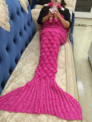 Adult Mermaid Tail Fish Blanket Sofa Quilt Handmade Knit Beach Rug Green / Pink