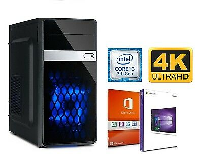 Büro PC Intel Computer 500GB SSD 2TB HDD 16GB Windows Office 2016 Voll 4K USB 30