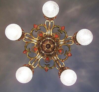 552 Vintage 20s 30s Ceiling Light lamp fixture art nouveau chandelier 1 of 2