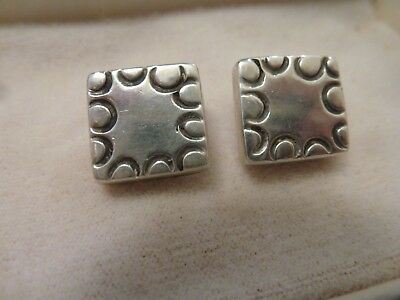 """2 Vintage Handmade Sterling Silver Shank 1/2"""" Buttons  Taxco Mexico Antique"""