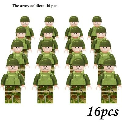 16 pcs Army Series Soldiers Mini Figures Building Blocks Fit Le Go Toys