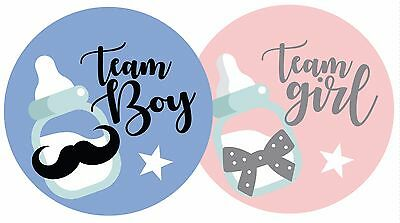 70 Team Boy & Team Girl Baby Shower Gender Reveal Party Stickers + UK FREE POST!