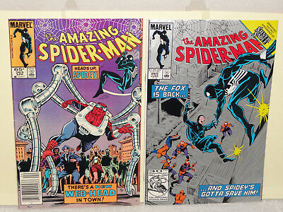 Marvel AMAZING SPIDER-MAN (VOL 1) 2 BOOK LOT # 263 265 SILVER SABLE 1ST FVF 1985