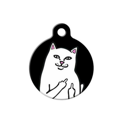 Pet ID Name Tag Cat Middle Finger Personalised Custom DOG CAT Name Tag Key Ring