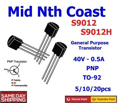 5/10/20pc S9012 S9012H 40V - 0.5A - 0.625W General Purpose Transistor PNP TO-92