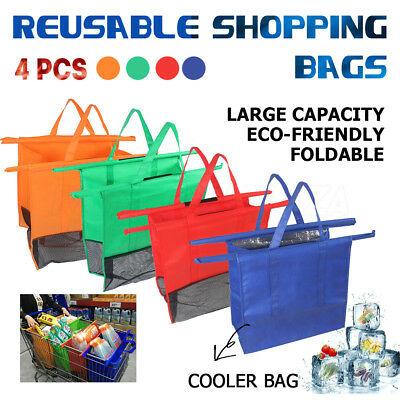 4Pcs Reusable Shopping Cart Bag Cooler Bag Eco Friendly Grocery Carrier  Trolley