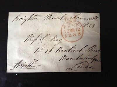 Free Front Dated 1833 - Brighton To London - Signed Bristol