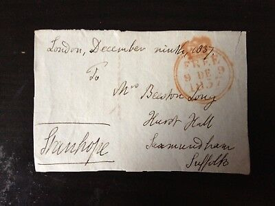 Free Front Dated 1837 - London To Saxmundham , Suffolk - Signed Stanhope