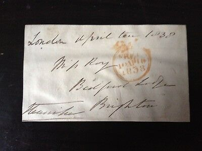 Free Front Dated 1838 - London To Brighton - Signed Henniker