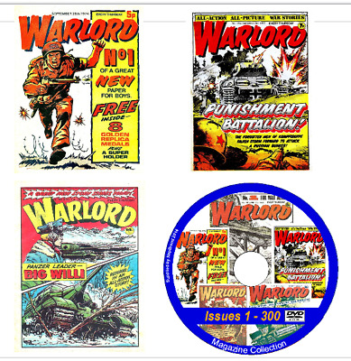 Warlord Issues 1 - 627 &12 Specials Action Comic on 2 DVDs+ viewing software