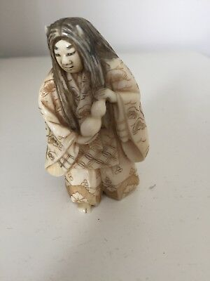 Antique Japanese Meiji period Netsuke of a Noh Actor with rotating Face Signed