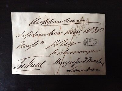 Free Front Dated 1838 - Chippenham To London - Signed Nield