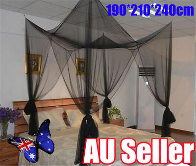4 Corner Post Bed Canopy Mosquito Net Full Queen King Size Netting Black Bed BK