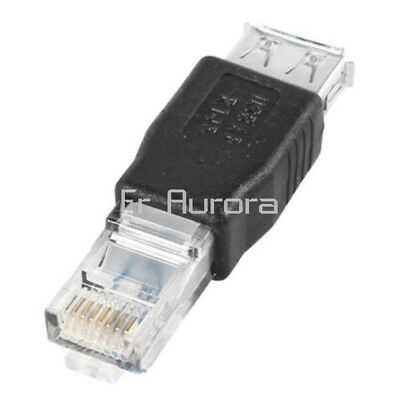 2Pcs USB A Female to Ethernet LAN RJ45 Male 10/100Mbps Network Adapter Connector