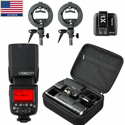 US Godox AD200 TTL HSS Pocket Flash +V860II-C Flash+ Trigger+2x Bracket F Canon