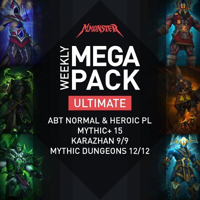 Weekly ULTIMATE MEGA Dungeons Pack Antorus HC Raids Mythic Plus Loot Gear WoW