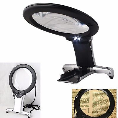 6X Large Magnifying Glass With Light LED LAMP Magnifier Foldable Stand Table