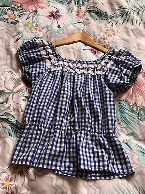 Vivienne Of Holloway Gingham Gypsy Top Size 8/10