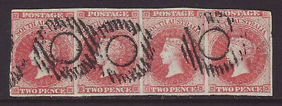 SOUTH AUSTRALIA 1856 2d Orange Red Strip of 4 Fine used, No Faults SG 7