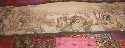 Vintage Large Venice Scene Fabric Wall Hanging With Braid 125 C