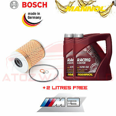 For Bmw M3 3.2 E46 Bosch Oil Filter + 8L Mannol 10W60 Racing Fully Synthetic Csl