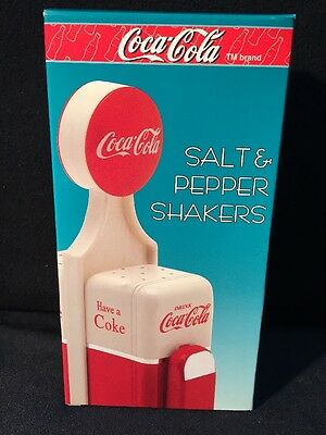 Vintage Coca-Cola Salt & Pepper Shakers Gas Pumps Collectable New In Box Awesome