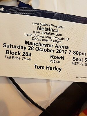 1x Seated Metallica Manchester Ticket