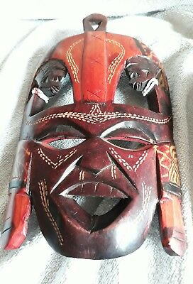 wooden carved african face mask