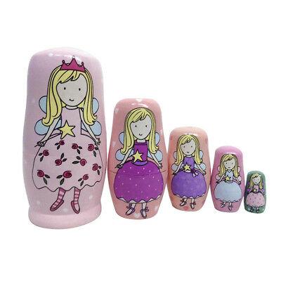 5X Wooden fairy Russian Nesting Dolls Matryoshka Set Kids Gift Toys Pink