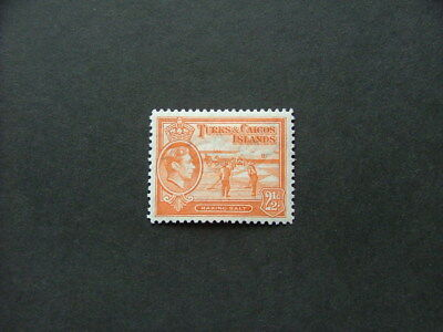 Turks & Caicos Islands KGVI 1944 2 1/2d orange SG199a MM