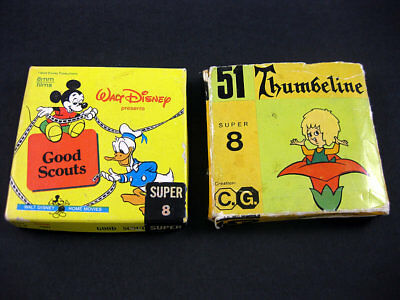 Vintage Super 8Mm B & W Silent / Donald Duck Good Scouts + Thumbeline Home Movie