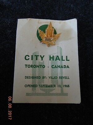 Toronto Canada City Hall Souvenir Pin designed by Viljo Revell  Sep 13 1965