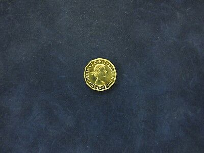 Bronze Queen Elizabeth II Threepence, 1970. From proof set.