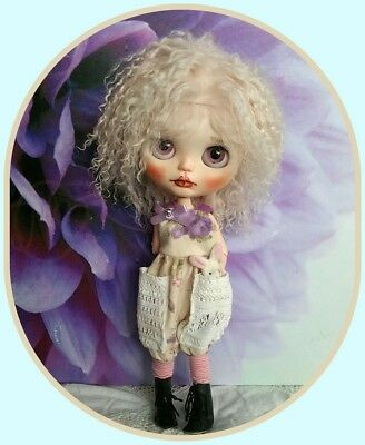 """Blythe doll pale pink colour curly mohair wig for your BALD 12"""" doll  ** NO DOLL"""