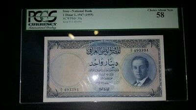 Bank of Iraq, 1 dinars,  (1955), serial number 493394