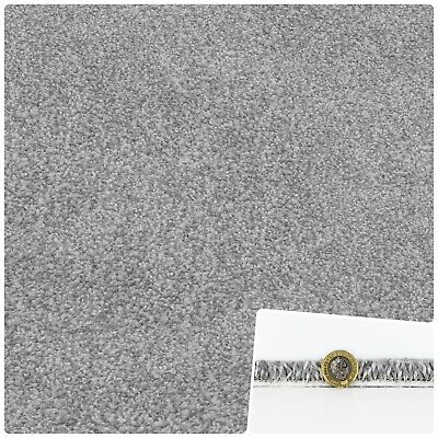 SUPER 17mm THICK & SOFT Grey Felt Back Saxony 4m Wide Carpet £10.99Sqm