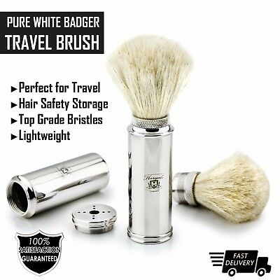 Men's Travel Shaving Brush With Pure White Badger Hair in Stainless Steel Handle