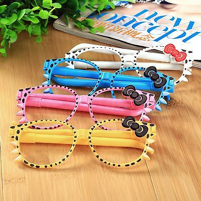 Randomly 1Pcs Glasses Shape Ballpoint Pen Blue Ink Kids Children Stationery Writ