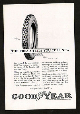 1923 GOODYEAR cord tires vintage Original Print AD - Tread tells you it is new