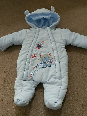 Special delivery boys outdoor all on one with attached bootees size o-3 months