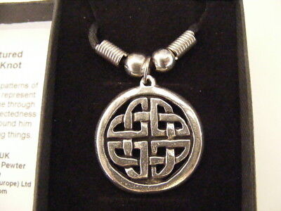 Sculpted Celtic Knot Ancient Celt Symbol British Pewter Pendant Necklace Gift