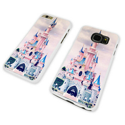 DISNEY CASTLE PINK MAGIC WHITE PHONE CASE COVER fits iPHONE / SAMSUNG (WH)