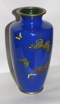 Small Antique Japanese Cloisonne  Vase w/ Butterfly Decoration