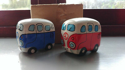 Novelty Ceramic Vw Camper Van Salt & Pepper Set - Blue/red - New & Boxed!