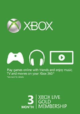 3 Month Xbox Live Gold Subscription Digital License code Worldwide