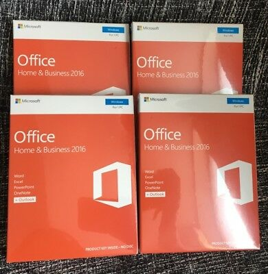 Microsoft Office Home and Business 2016 32 and 64 Bit 1PC Windows