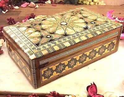 Vintage Wooden Inlaid Mother Of Pearl Trinket Box 8 x 5 inches FREE UK POST