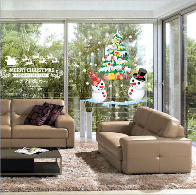 Christmas White Snowman Colorful Christmas Tree Wall Sticker Wall Window Décor